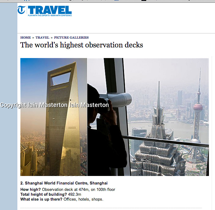 the Telegraph; Observation deck in Shanghai