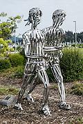 """Running"" metal sculpture by Ken Turner 2016. Funded by Art Dash, Anacortes Arts Festival, Fidalgo Island, Washington, USA."