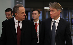 Vitaly Mutko, president of the Russian Football Union, and Alexey Sorokin CEO of the Local Organising Committee attend a seminar on the eve of the final draw for the 2016 FIFA World Cup, Moscow. PRESS ASSOCIATION Photo. Picture date: Thursday November 30, 2017. Photo credit should read: Nick Potts/PA Wire RESTIRCTIONS: Editorial use only. No transmission of sound or moving images. No use with any unofficial third party logos. No altering or adjusting of photographs.