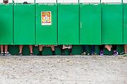The new £600k loos get put through their paces. The 2014 Glastonbury Festival, Worthy Farm, Glastonbury. 26 June 2013.  Guy Bell, 07771 786236, guy@gbphotos.com