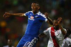 Mario Booysen of SuperSport United and Nhlanhla Vilakazi of Free State Stars during the 2016 Premier Soccer League match between Supersport United and The Free Stat Stars held at the King Zwelithini Stadium in Durban, South Africa on the 24th September 2016<br /> <br /> Photo by:   Steve Haag / Real Time Images