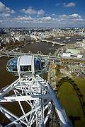 The London Eye, a huge ferris wheel on the River Thames