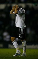 Photo: Steve Bond.<br />Derby County v Blackpool. Carling Cup. 28/08/2007. Bob malcolm can't believe he's missed his penalty