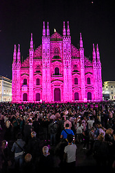 Milan Cathedral is lit up in pink for a Breast Cancer Awareness campaign in Milan, Italy 29th September 2016.
