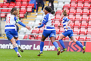 GOAL both Goal scorers for Reading, Reading midfielder Natasha Harding (11) and Reading forward Danielle Carter (18) celebrate after a goal during the FA Women's Super League match between Manchester United Women and Reading LFC at Leigh Sports Village, Leigh, United Kingdom on 7 February 2021.
