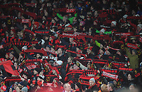 Football - 2017 / 2018 Europa League - Round of Thirty-Two, Second Leg: Arsenal (3) vs. Ostersunds FK (0)<br /> <br /> Ostersunds fans with their scarfs at The Emirates.<br /> <br /> COLORSPORT/ANDREW COWIE