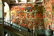 MEXICO, SOUTH, OAXACA STATE Oaxaca, Governors Palace with mural of Oaxacan history shows Mixtec Indian life before Spanish conquest
