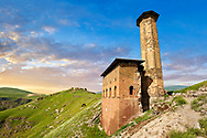 The Seljuk Turk Mosque of Ebul Minuchihr (Minuchir) built in 1072, Ani archaelogical site on the ancient Silk Road  , Anatolia, Turkey .<br /> <br /> If you prefer to buy from our ALAMY PHOTO LIBRARY  Collection visit : https://www.alamy.com/portfolio/paul-williams-funkystock/ani-turkey.html<br /> <br /> Visit our TURKEY PHOTO COLLECTIONS for more photos to download or buy as wall art prints https://funkystock.photoshelter.com/gallery-collection/3f-Pictures-of-Turkey-Turkey-Photos-Images-Fotos/C0000U.hJWkZxAbg