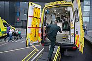 Ambulance crews and Paramedics belonging to Yorkshire NHS Ambulance Service outside St James's Hospital, Leeds, Yorkshire, United Kingdom.<br /> Photo©Steve Forrest/Workers' Photos