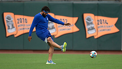 Oct 7, 2021; San Francisco, CA, USA; Los Angeles Dodgers pitcher Kenley Jansen (74) kicks a soccer ball around the outfield during NLDS workouts. Mandatory Credit: D. Ross Cameron-USA TODAY Sports