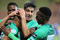23102018 (Durban) Amazulu players Emiliano Tade and Bonginkosi Ntuli celebrates a goal during the first round of the Telkom Knockout concluded on Tuesday night when Amazulu walloped the MTN8 Cup winners Cape Town City  2-0 at the King Zwelithini stadium, Durban. Amazulu making their way to the quarter finals were they would be playing against Orlando Pirates at the same venue.<br /> Picture: Motshwari Mofokeng/African News Agency (ANA)