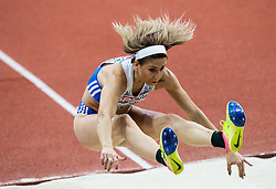 Paraskeví Papahrístou of Greece competes in the Triple Jump Women Final on day two of the 2017 European Athletics Indoor Championships at the Kombank Arena on March 4, 2017 in Belgrade, Serbia. Photo by Vid Ponikvar / Sportida