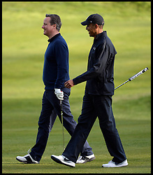 Image ©Licensed to i-Images Picture Agency. 23/04/2016. London, United Kingdom. David Cameron and President Obama playing golf. The British Prime Minister David Cameron playing golf against the President of the United States, President Obama  at golf at the Grove Golf Club. Picture by Andrew Parsons / i-Images