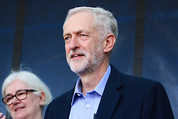 © Licensed to London News Pictures. 12/09/2015. London, UK. Newly appointed Labour Leader Jeremy Corbyn attends the Solidarity with Refugees March in London holding his first public speech as Leader of the Labour Party. Tens of Thousands of people march to Westminster to show their support for the refugees from Syria. today September 12th 2015. Photo credit : Hugo Michiels/LNP
