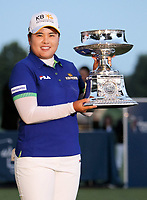 17 August 2014: Inbee Park holds the winning trophy after she wins the 2014 LPGA Golf Damen Wegmans Championsduring the final round of the Wegmans LPGA Golf<br />