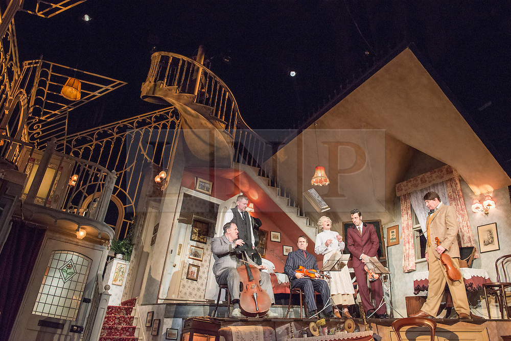© Licensed to London News Pictures. 08/07/2013. The Ladykillers by Graham Linehan at The Vaudeville Theatre, London. Based on the Ealing Comedy screenplay, this stage production has been adapted by Graham Linehan. Picture shows: Chris McCalphy (One Round), Gordon Sinclair (Prof Marcus), Con O'Neill (Louis), Angela Thorne (Mrs Wilberforce), Ralf Little (Harry) & Simon Day (Major Courtney). Photo credit: Tony Nandi/LNP