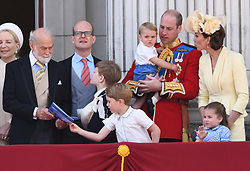The Duke of Cambridge, Prince George, Prince Louis, Princess Charlotte and The Duchess of Cambridge attending Trooping The Colour, Buckingham Palace, London. Picture credit should read: Doug Peters/EMPICS