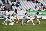 Ryan ten Doeschate of Essex batting with Somerset fielders in close catching positions during the Specsavers County Champ Div 1 match between Somerset County Cricket Club and Essex County Cricket Club at the Cooper Associates County Ground, Taunton, United Kingdom on 26 September 2019.