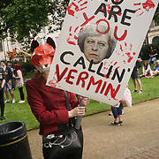 Hundreds of animal rights activists assembly at Cavendish Square in London and march to Downing Street for the  Anti-Hunt Campaign Day on 29th May 2017, London,UK.