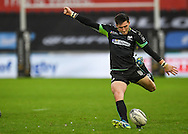 Ospreys' Sam Davies kicks a penalty.<br /> <br /> Guinness Pro12 rugby match, Ospreys v Connacht rugby at the Liberty Stadium in Swansea, South Wales on Saturday 7th January 2017.<br /> pic by Craig Thomas, Andrew Orchard sports photography.