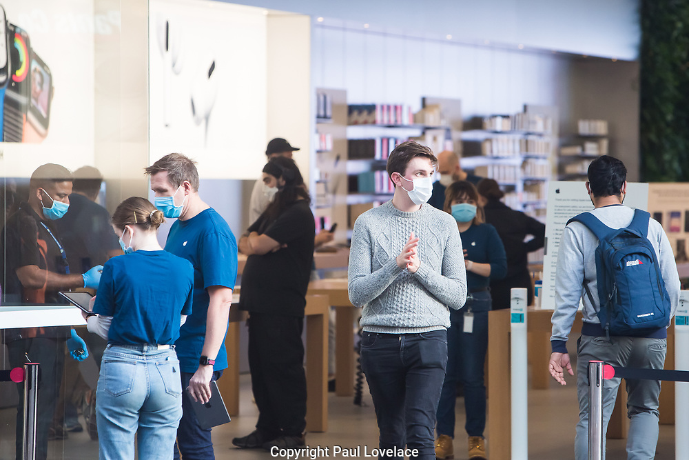 Sydney, Australia. Thursday 7th May 2020. The Apple Store at Bondi Junction in Sydney's eastern suburbs opens as well as all the other Apple stores across Australia as the coronavirus lockdown restrictions ease. Apple has added additional safety procedures including temperature checks and social distancing. A customer leaves washing his hands. Credit Paul Lovelace/Alamy Live News