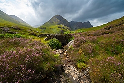 View from bridge on Old Military Road of Beinn Fhada, part of Bidean Nam Bian also known as the Three Sisters of Glencoe, Highland Region, Scotland, UK
