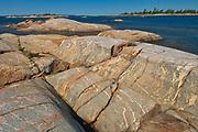 Glacially eroded Precambrian shield rock on coast islands in Georgian Bay (Lake Huron) <br />French River Provincial Park<br />Ontario<br />Canada
