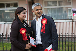 © Licensed to London News Pictures. 30/05/2015. London, UK. Sadiq Khan with Sabina Akhtar in Stepney, Tower Hamlets in east London to support canvassing for John Biggs to become Tower Hamlets Mayor and Sabina Akhtar to become a councillor for Stepney. The Tower Hamlets Mayoral election will be re-run on 11th June after a High Court election petition found the previously elected mayor, Lutfur Rahman and his election agent and former Stepney councillor, Alibor Choudhury guilty of corrupt and illegal practices. Photo credit : Vickie Flores/LNP