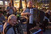 Accordionists in The Old Aker Band (Gamle Aker Spelemannslag), a Norwegian accordion band, playing in Accordions Around the World in Bryant Park.