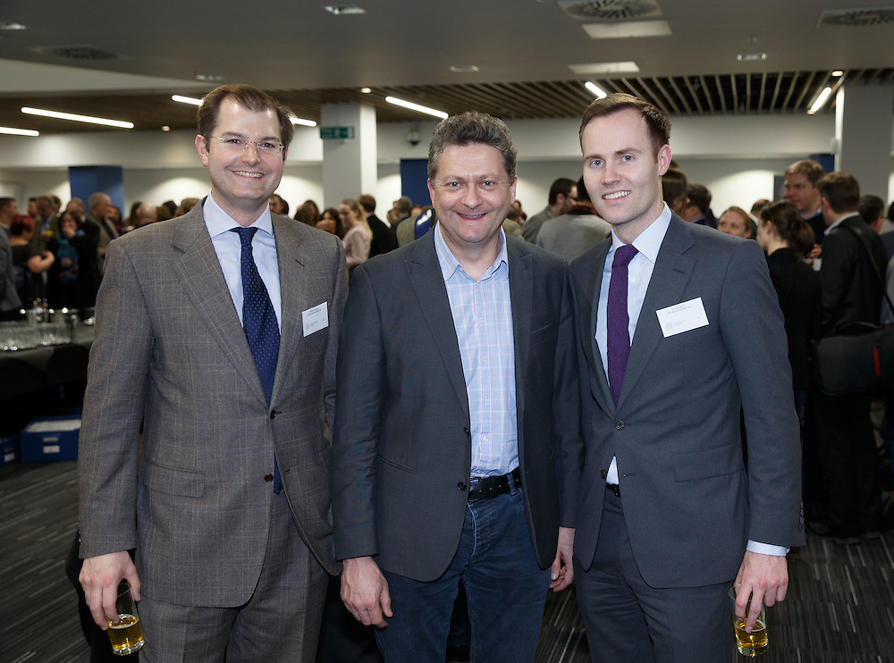 FREE PICTURES : Social event as Entrepreneurial Scotland drafts in brewer. James Watt, Co-Founder of Brewdog  chatting to a large audience at the TIC in Glasgow.  L to R : Matthew Hoyne, UBS Wealth Management, Mark Simmers, Celtic Renewables and Gerard Wilson, UBS Wealth Management.  Picture Robert Perry 3rd March 2016<br /> <br /> Must credit photo to Robert Perry<br /> <br /> FEE PAYABLE FOR REPRO USE<br /> FEE PAYABLE FOR ALL INTERNET USE<br /> www.robertperry.co.uk<br /> NB -This image is not to be distributed without the prior consent of the copyright holder.<br /> in using this image you agree to abide by terms and conditions as stated in this caption.<br /> All monies payable to Robert Perry<br /> <br /> (PLEASE DO NOT REMOVE THIS CAPTION)<br /> This image is intended for Editorial use (e.g. news). Any commercial or promotional use requires additional clearance. <br /> Copyright 2016 All rights protected.<br /> first use only<br /> contact details<br /> Robert Perry     <br /> 07702 631 477<br /> robertperryphotos@gmail.com<br />         <br /> Robert Perry reserves the right to pursue unauthorised use of this image . If you violate my intellectual property you may be liable for  damages, loss of income, and profits you derive from the use of this image.