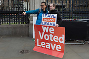 A tourist asks for a selfie with a pro-Brexiter outside the UK Parliament in a week that Prime Minister Theresa May asks for MPs to back her Brexit deal, on 14th January 2019, in Westminster, London, England.