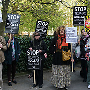 US Embassy, London,England,UK.14th April 2017. Stop the War Coalition and Campaign for Nuclear Disarmament host a protest against US President threatens Nuclear strike on North Korea. Many protestors believe North Korea will retaliate  with Nuclear against US aggression outside US Embassy,London,UK. by See Li