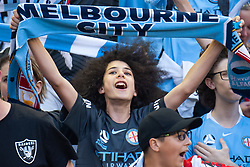 February 23, 2019 - Melbourne, VIC, U.S. - MELBOURNE, VIC - FEBRUARY 23: City fans chant to show support prior to the start of the match at round 20 of the Hyundai A-League Soccer between Melbourne City FC and Melbourne Victory on February 23, 2019 at Marvel Stadium, VIC. (Photo by Speed Media/Icon Sportswire) (Credit Image: © Speed Media/Icon SMI via ZUMA Press)