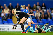 Birmingham City goalkeeper Emily Ramsey (21) gathers ball during the FA Women's Super League match between Birmingham City Women and Brighton and Hove Albion Women at St Andrews, Birmingham United Kingdom on 12 September 2021.