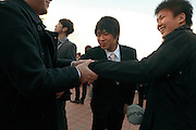 male friends meeting up during there Coming of Age celebration for 20 year of age Japan