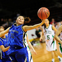 031413  Adron Gardner/Independent<br /> <br /> Navajo Pine Warrior Kaitlin Chee (21) reaches for a rebound during the 2A New Mexico High School Basketball tournament semifinals at the Santa Ana Star Center in Rio Rancho Thursday.