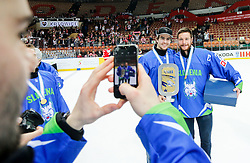 Miha Verlic, Jan Urbas of Slovenia celebrate after the ice hockey match between National Teams of Austria and Slovenia in 5th Round of 2016 IIHF Ice Hockey World Championship Division 1 - Group A, on April 29, 2016 in Spodek Arena, Katowice, Poland. Photo by Marek Piuyzs / Sportida