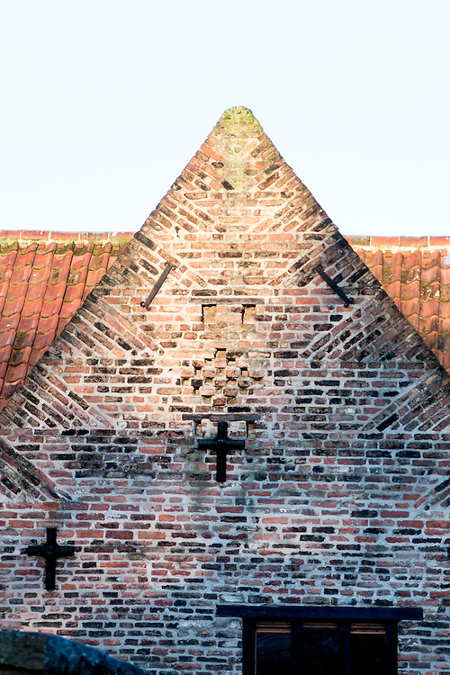 Brick gable, possibly late 16th century, with distinctive brick tumbling at the former medieval Dominican Friary (now YHA), Beverley, Yorkshire, UK.