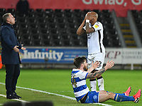 Football - 2019 / 2020 Sky Bet (EFL) Championship - Swansea City vs. Queens Park Rangers<br /> <br /> Swansea Manager Steve Cooper André Ayew of Swansea City & Ryan Manning of QPR all gesture against the referees decision, at The Liberty Stadium.<br /> <br /> COLORSPORT/WINSTON BYNORTH