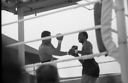 Ali vs Lewis Fight, Croke Park,Dublin.<br /> 1972.<br /> 19.07.1972.<br /> 07.19.1972.<br /> 19th July 1972.<br /> As part of his built up for a World Championship attempt against the current champion, 'Smokin' Joe Frazier,Muhammad Ali fought Al 'Blue' Lewis at Croke Park,Dublin,Ireland. Muhammad Ali won the fight with a TKO when the fight was stopped in the eleventh round.<br /> <br /> Picture of a heavy breathing Lewis as he gets ready to throw a right cross.