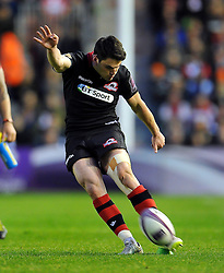 Sam Hidalgo-Clyne of Edinburgh Rugby kicks for the posts - Photo mandatory by-line: Patrick Khachfe/JMP - Mobile: 07966 386802 01/05/2015 - SPORT - RUGBY UNION - London - The Twickenham Stoop - Edinburgh Rugby v Gloucester Rugby - European Rugby Challenge Cup Final