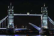 A general view of Tower Bridge of London from the London Bridge shows  South wing of the Tower Bridge remained stuck open, leaving hundreds of people and vehicles stranded in central London on Saturday, Aug 22, 2020. <br /> The famous crossing failed to close after allowing a ship to pass along the River Thames on Saturday afternoon. In 2005, police closed the bridge for 10 hours after a technical problem meant the arms could not be lowered. (VXP Photo/ Vudi Xhymshiti)