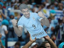 NIZHNY NOVGOROD, July 6, 2018  A fan of Uruguay holds up a cutout of Luis Suarez prior to the 2018 FIFA World Cup quarter-final match between Uruguay and France in Nizhny Novgorod, Russia, July 6, 2018. (Credit Image: © Fei Maohua/Xinhua via ZUMA Wire)