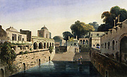 A Baolee, near the old city of Delhi, 1801 This step-well or baoli, near the funerary complex in Delhi of Shaikh Nizam al-Din Aulia (1236-1325), is believed to have been built by the followers of the Saint. It is surrounded by a mosque and some tombs. The Daniells saw small boys dive into the water to retrieve coins, as they still do. From the book ' Oriental scenery: one hundred and fifty views of the architecture, antiquities and landscape scenery of Hindoostan ' by Thomas Daniell, and William Daniell, Published in London by the Authors May 1, 1813