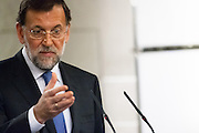 Mariano Rajoy in press conference in the visit of president of Brazil Dilma Rousseff