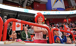 12.05.2013, Globe Arena, Stockholm, SWE, IIHF, Eishockey WM, Kanada vs Tschechische Republik, im Bild Canada Kanada publik fans supporter happy // during the IIHF Icehockey World Championship Game between Canada and Czech Republic at the Ericsson Globe, Stockholm, Sweden on 2013/05/12. EXPA Pictures © 2013, PhotoCredit: EXPA/ PicAgency Skycam/ Simone Syversson..***** ATTENTION - OUT OF SWE *****