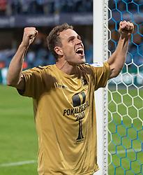 Matchvinder Anders K. Jacobsen (SønderjyskE) jubler efter finalen i Sydbank Pokalen mellem AaB og SønderjyskE den 1. juli 2020 i Blue Water Arena, Esbjerg (Foto Claus Birch).