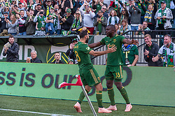 October 21, 2018 - Portland, OR, U.S. - PORTLAND, OR - OCTOBER 21, 2018: Portland Timbers players Diego Valeri and Larrys Mabiala celebrate the first goal of the Portland Timbers 3-0 victory over Real Salt lake on October 21, 2018, at Providence Park in Portland, Oregon. (Photo by Diego Diaz/Icon Sportswire) (Credit Image: © Diego Diaz/Icon SMI via ZUMA Press)