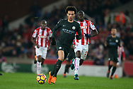 Leroy Sane of Manchester City in action.Premier league match, Stoke City v Manchester City at the Bet365 Stadium in Stoke on Trent, Staffs on Monday 12th March 2018.<br /> pic by Andrew Orchard, Andrew Orchard sports photography.