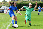 Southern United's Shontelle Smith passes the ball under pressure in the National womens league football match, Central Football v Southern United, Massey University, Palmerston North, Sunday, December 02, 2018. Copyright photo: Kerry Marshall / www.photosport.nz